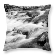 Flowing St Vrain Creek Black And White Throw Pillow
