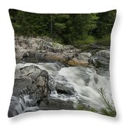 Flowing Stream With Waterfall In Vermont Throw Pillow