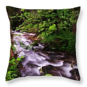 Flowing Through The Forest Throw Pillow