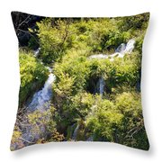 Flowing Water On Falling Lakes Of Plitvice Throw Pillow