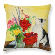 Fluff Smells The Lavender- Painting Throw Pillow
