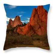 Fluffy Clouds Over Jagged Peaks Throw Pillow