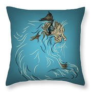 Fluffy Gray Cat In Profile Throw Pillow