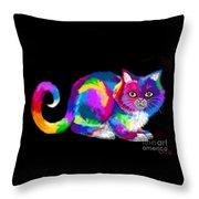 Fluffy Rainbow Cat 2 Throw Pillow