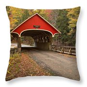 Flume Gorge Covered Bridge Fall Colors Throw Pillow
