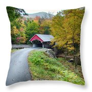 Flume Gorge Covered Bridge Throw Pillow
