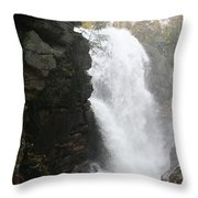 Flume Gorge Waterfall In Autumn Throw Pillow
