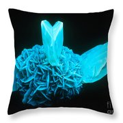 Fluorescing Selenite Gypsum Throw Pillow