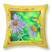 Flutters And Flowers Throw Pillow