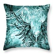 Fly Away Gothic Aqua Throw Pillow