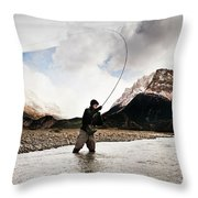 Fly Fishing At The Base Of Fitz Roy Throw Pillow