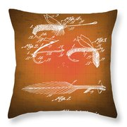 Fly Fishing Bait Patent Blueprint Drawing Sepia Throw Pillow