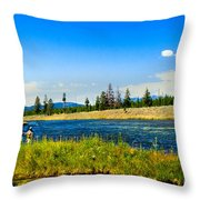 Fly Fishing In Yellowstone Throw Pillow
