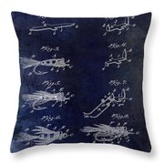 1922 Fly Fishing Lure Blue Throw Pillow