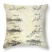 1922 Fly Fishing Lure Patent Drawing Throw Pillow