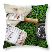 Fly Fishing Rod And Asessories Throw Pillow