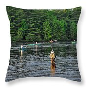 Fly Fishing West Penobscot River Maine Throw Pillow