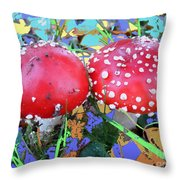 Fly-fungus With Blue Leaves By M.l.d.moerings 2009 Throw Pillow