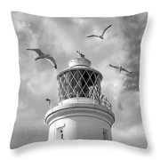 Fly Past - Seagulls Round Southwold Lighthouse In Black And White Throw Pillow