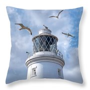 Fly Past - Seagulls Round Southwold Lighthouse - Square Throw Pillow