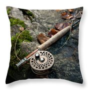Fly Rod And Reel Detail On Mossy Wet Throw Pillow