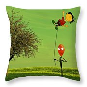 Flying A Balloon In A Parallel Universe Throw Pillow
