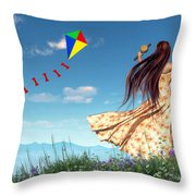 Flying A Kite Throw Pillow