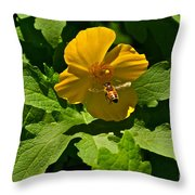 Flying Bee And Wood Poppy Throw Pillow