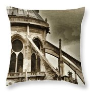 Flying Buttress At Notre Dame Throw Pillow