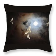 Flying By Moonlight Throw Pillow