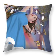 Flying Cards Dissolve Alice's Dream Throw Pillow