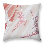 Flying Dancers  Throw Pillow