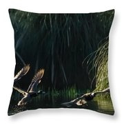Flying Ducks Throw Pillow