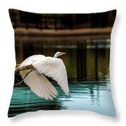 Flying Egret Throw Pillow by Robert Bales