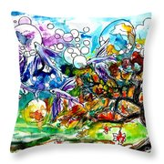 Flying Fish Tree And Bubbles Throw Pillow