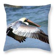 Flying Florida Pelican Throw Pillow