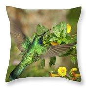 Flying Green Violetear Throw Pillow