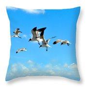 Flying Gulls Throw Pillow