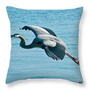 Flying Heron Throw Pillow