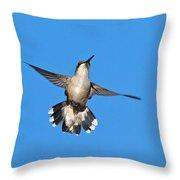 Flying Hummingbird Against Blue Sky Throw Pillow