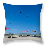 Flying Kites From The Pier Throw Pillow