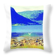 Seagull Flying Low, Mountains Standing Tall  Throw Pillow