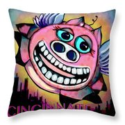 Flying Low Over Porkopolis  Throw Pillow