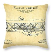 Flying Machine Patent Drawing From 1906 - Vintage Throw Pillow