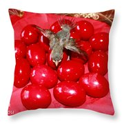 Flying Over Red Eggs Throw Pillow