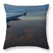 Flying Over The Mojave Desert At Dawn Throw Pillow