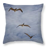 Flying Pelicans Throw Pillow