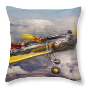 Flying Pig - Plane - The Joy Ride Throw Pillow by Mike Savad