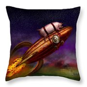 Flying Pig - Rocket - To The Moon Or Bust Throw Pillow