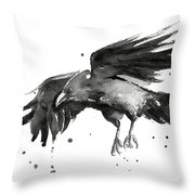 Flying Raven Watercolor Throw Pillow